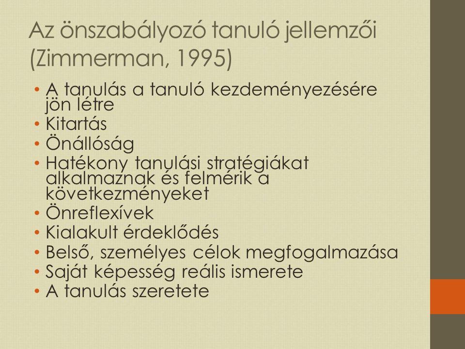 Az önszabályozó tanuló jellemzői (Zimmerman, 1995)