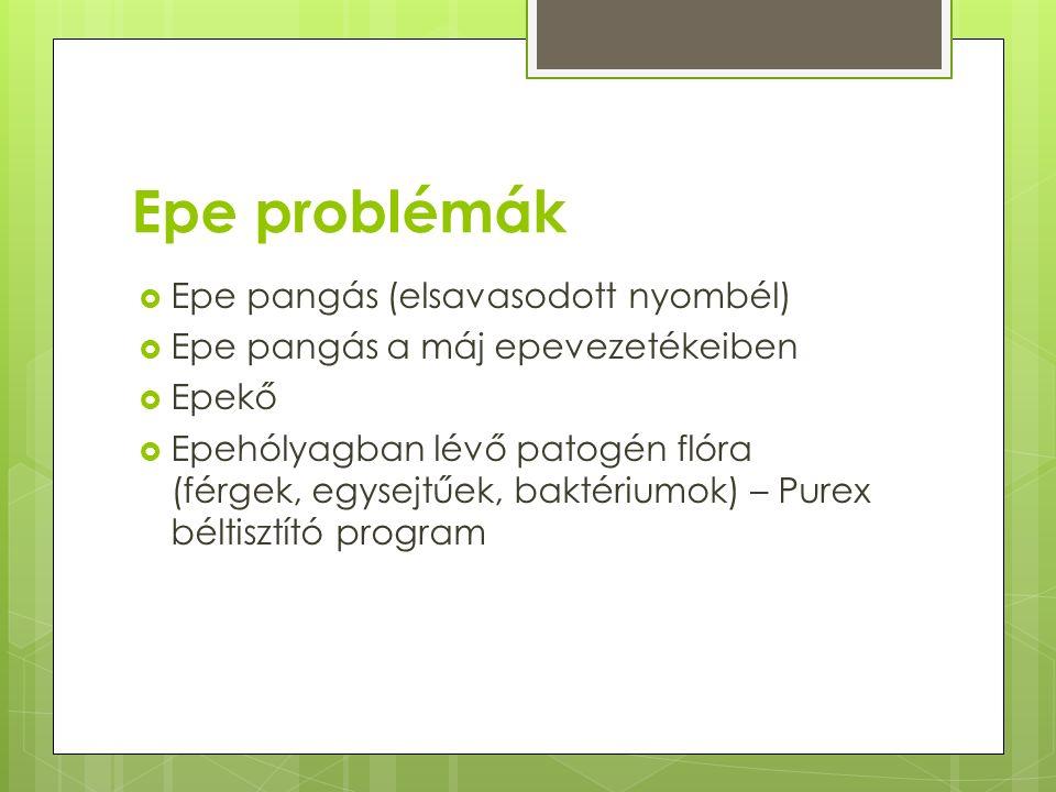 Epe problémák Epe pangás (elsavasodott nyombél)