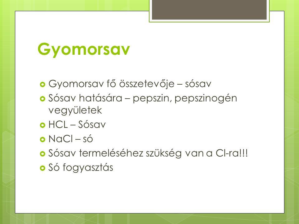 Gyomorsav Gyomorsav fő összetevője – sósav