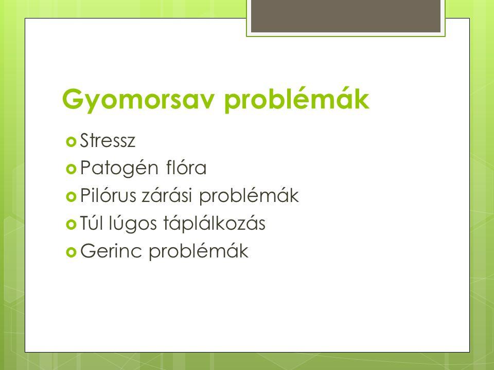 Gyomorsav problémák Stressz Patogén flóra Pilórus zárási problémák