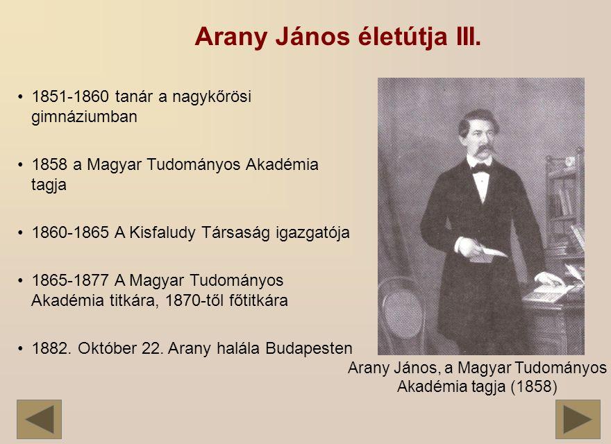 Arany János, a Magyar Tudományos Akadémia tagja (1858)