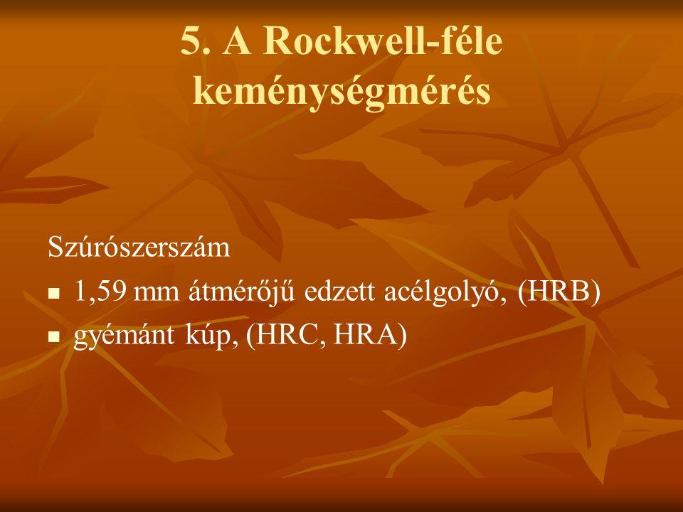 5. A Rockwell-féle keménységmérés