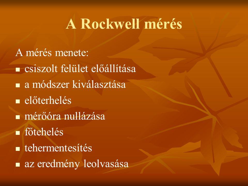 A Rockwell mérés A mérés menete: csiszolt felület előállítása