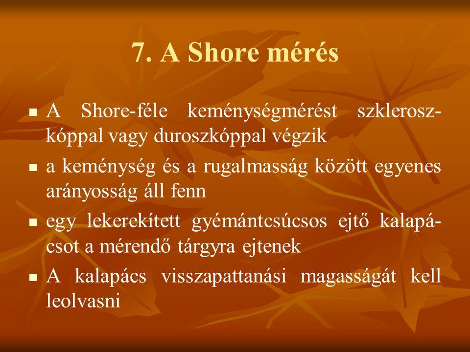 7. A Shore mérés A Shore-féle keménységmérést szklerosz-kóppal vagy duroszkóppal végzik.