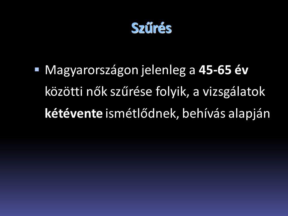 Szűrés Magyarországon jelenleg a 45-65 év közötti nők szűrése folyik, a vizsgálatok kétévente ismétlődnek, behívás alapján.