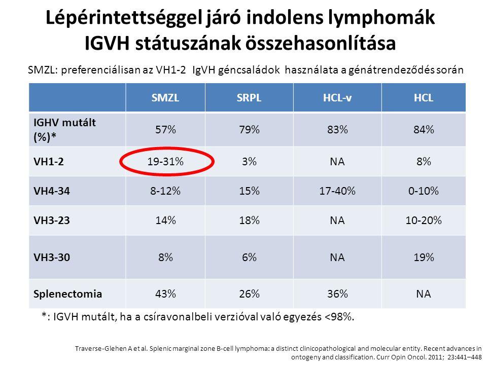 Lépérintettséggel járó indolens lymphomák IGVH státuszának összehasonlítása