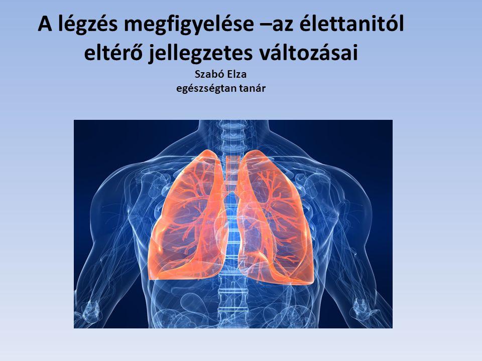 A légzés megfigyelése –az élettanitól eltérő jellegzetes változásai Szabó Elza egészségtan tanár