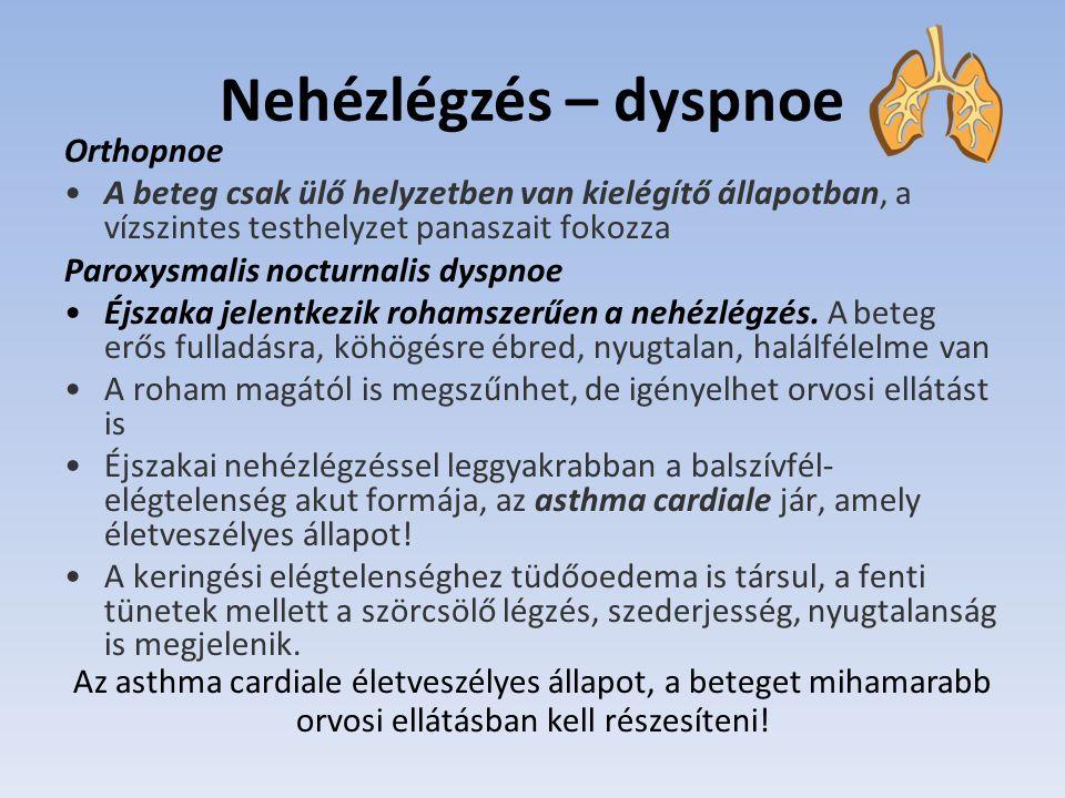Nehézlégzés – dyspnoe Orthopnoe