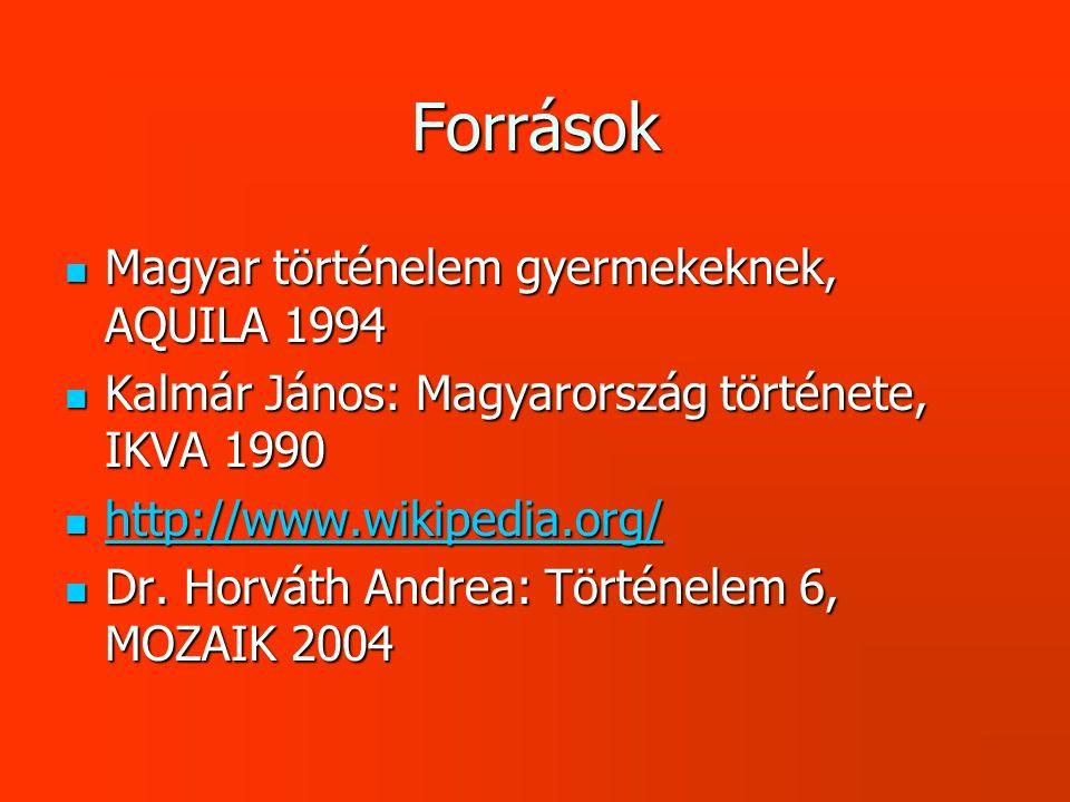 Források Magyar történelem gyermekeknek, AQUILA 1994
