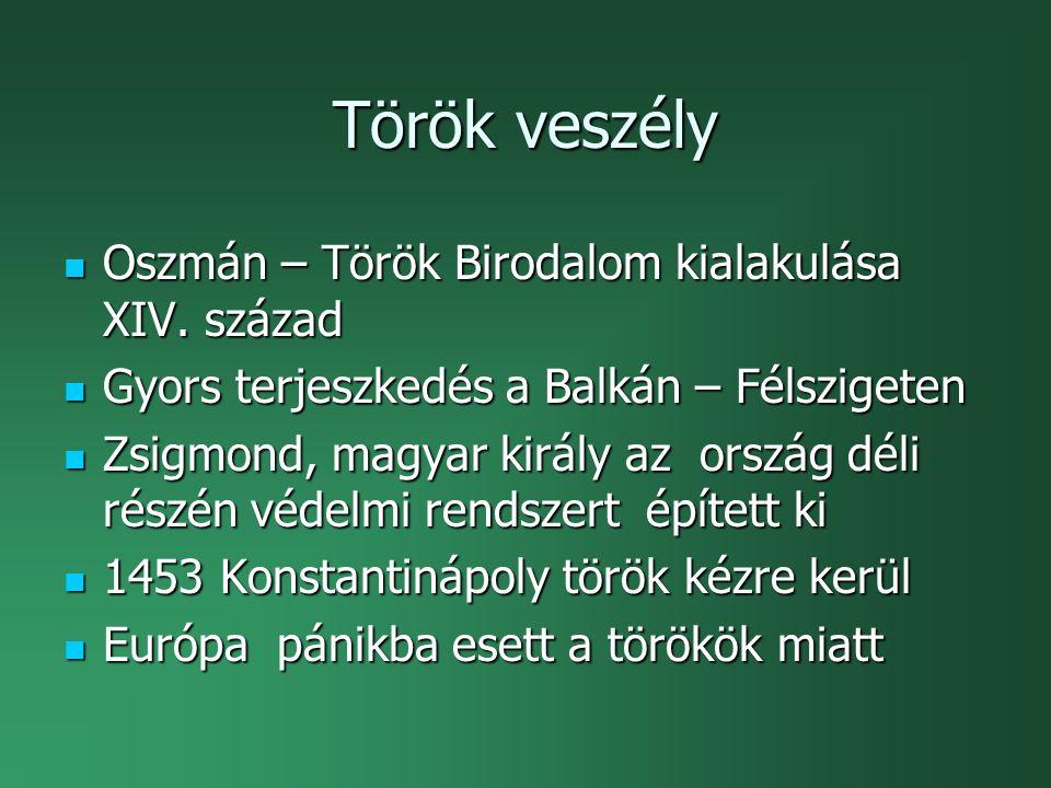 Török veszély Oszmán – Török Birodalom kialakulása XIV. század