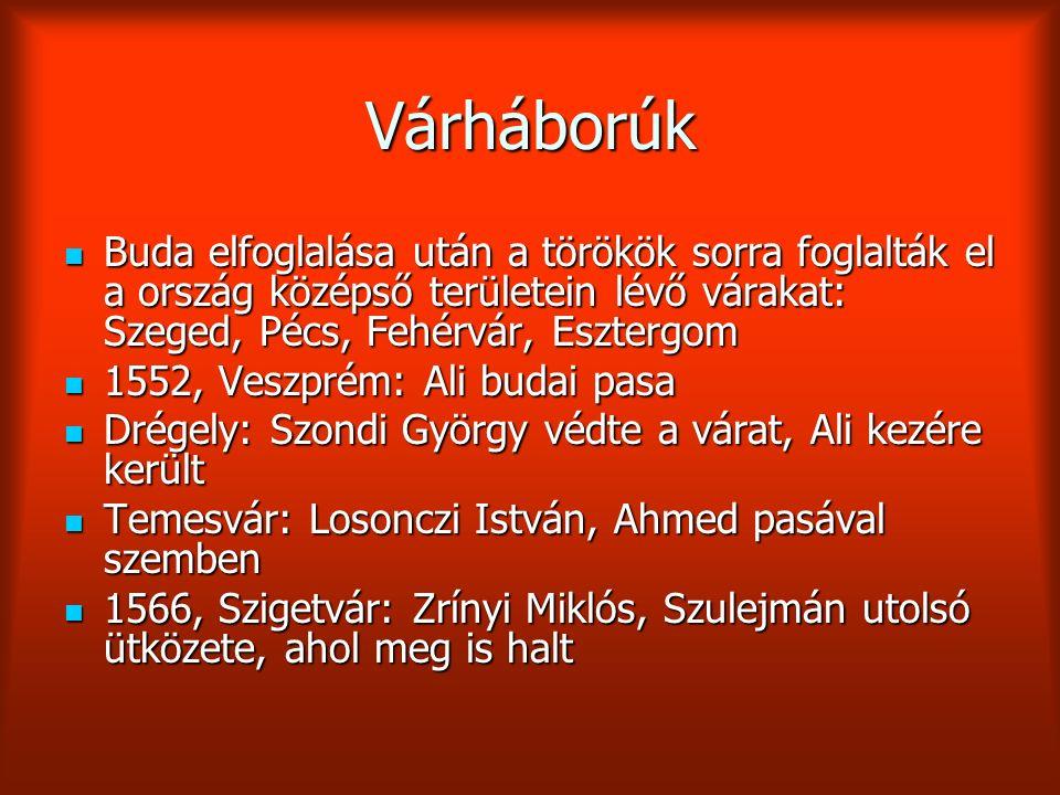 Várháborúk Buda elfoglalása után a törökök sorra foglalták el a ország középső területein lévő várakat: Szeged, Pécs, Fehérvár, Esztergom.