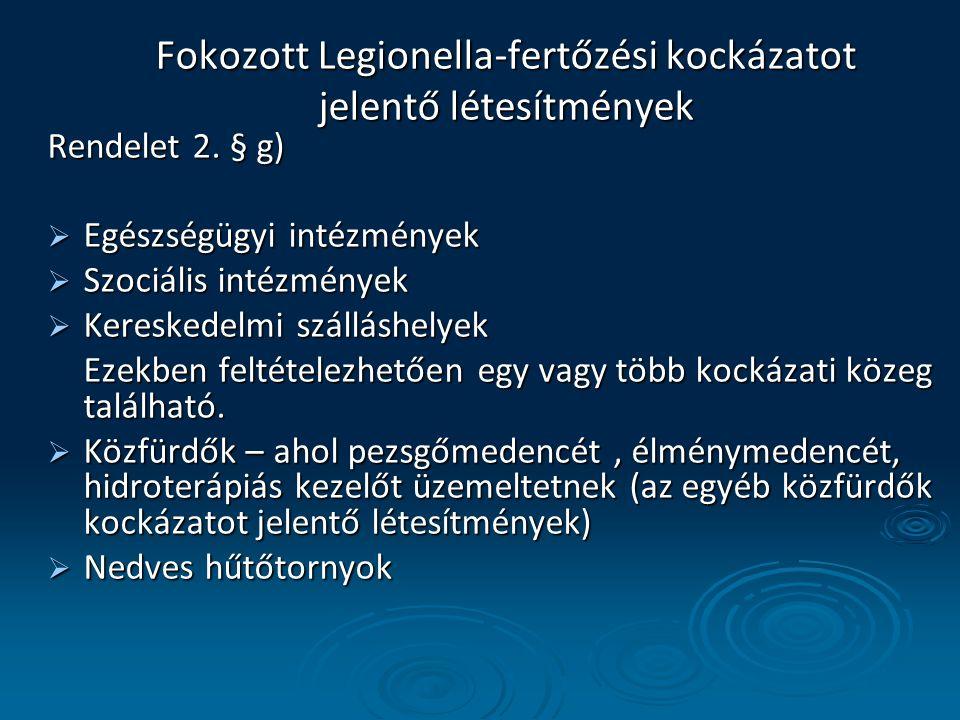 Fokozott Legionella-fertőzési kockázatot jelentő létesítmények