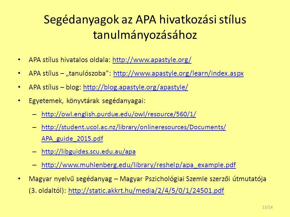 Segédanyagok az APA hivatkozási stílus tanulmányozásához