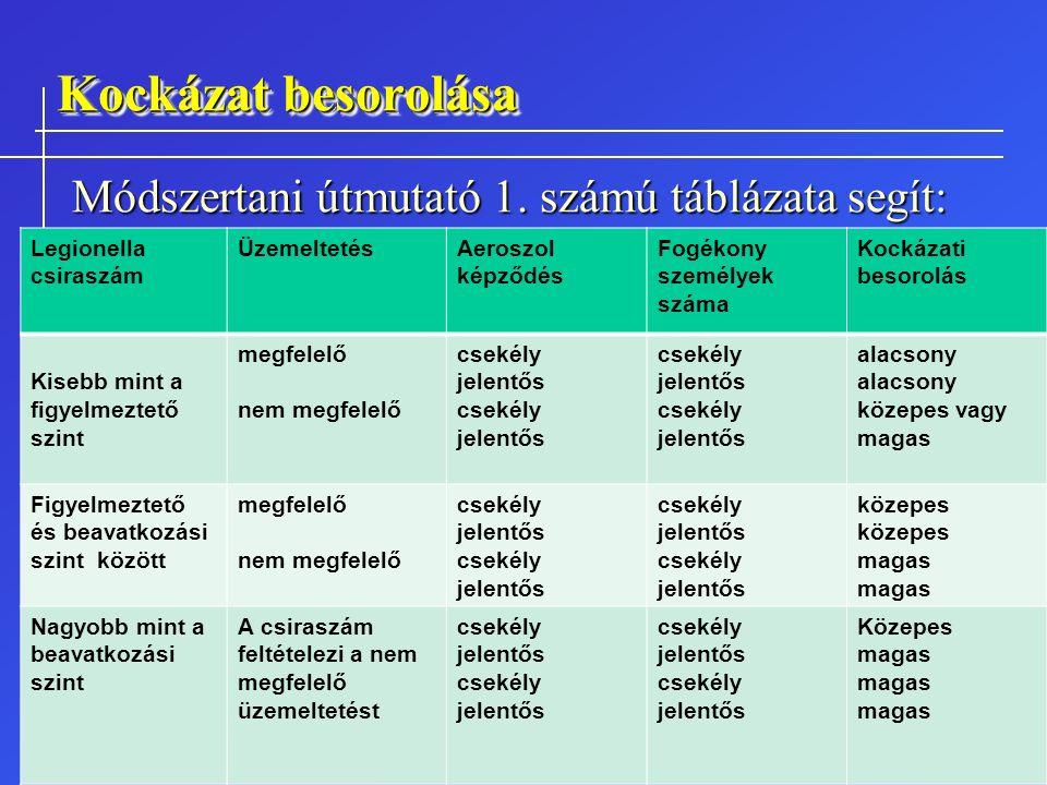 Kockázat besorolása Módszertani útmutató 1. számú táblázata segít: