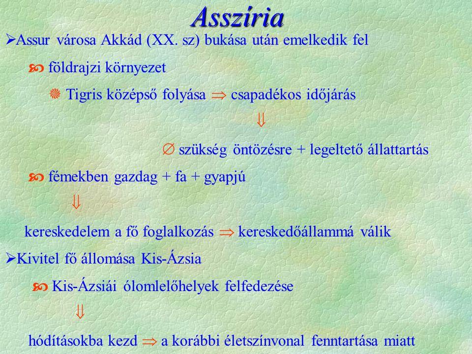Asszíria Assur városa Akkád (XX. sz) bukása után emelkedik fel