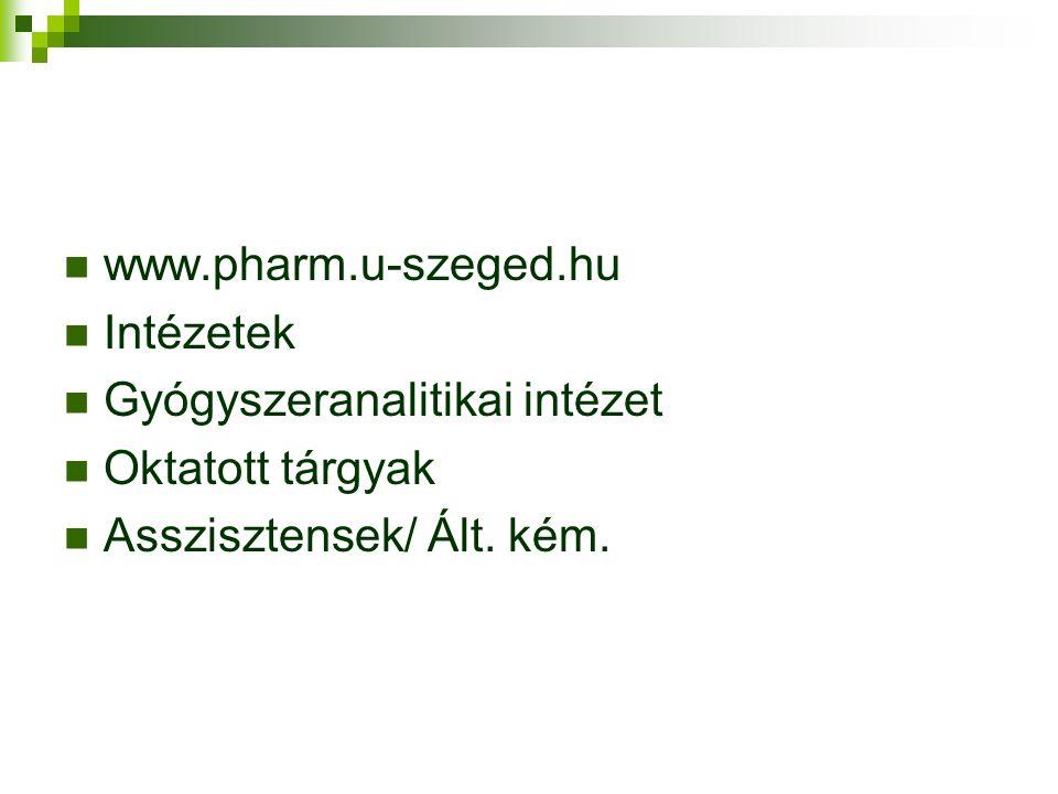 www.pharm.u-szeged.hu Intézetek. Gyógyszeranalitikai intézet.