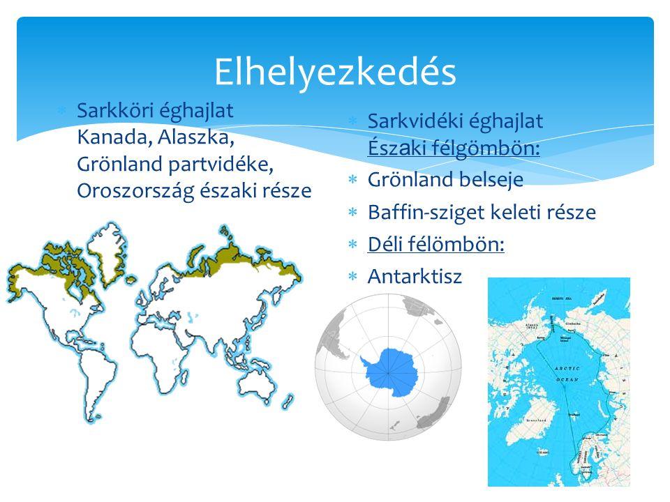 Elhelyezkedés Sarkköri éghajlat Kanada, Alaszka, Grönland partvidéke, Oroszország északi része. Sarkvidéki éghajlat Északi félgömbön: