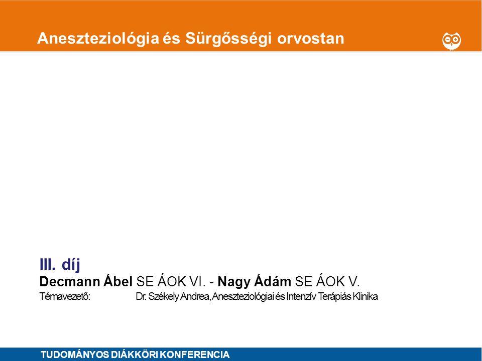 Aneszteziológia és Sürgősségi orvostan