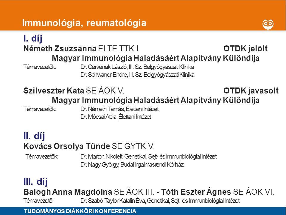 Immunológia, reumatológia