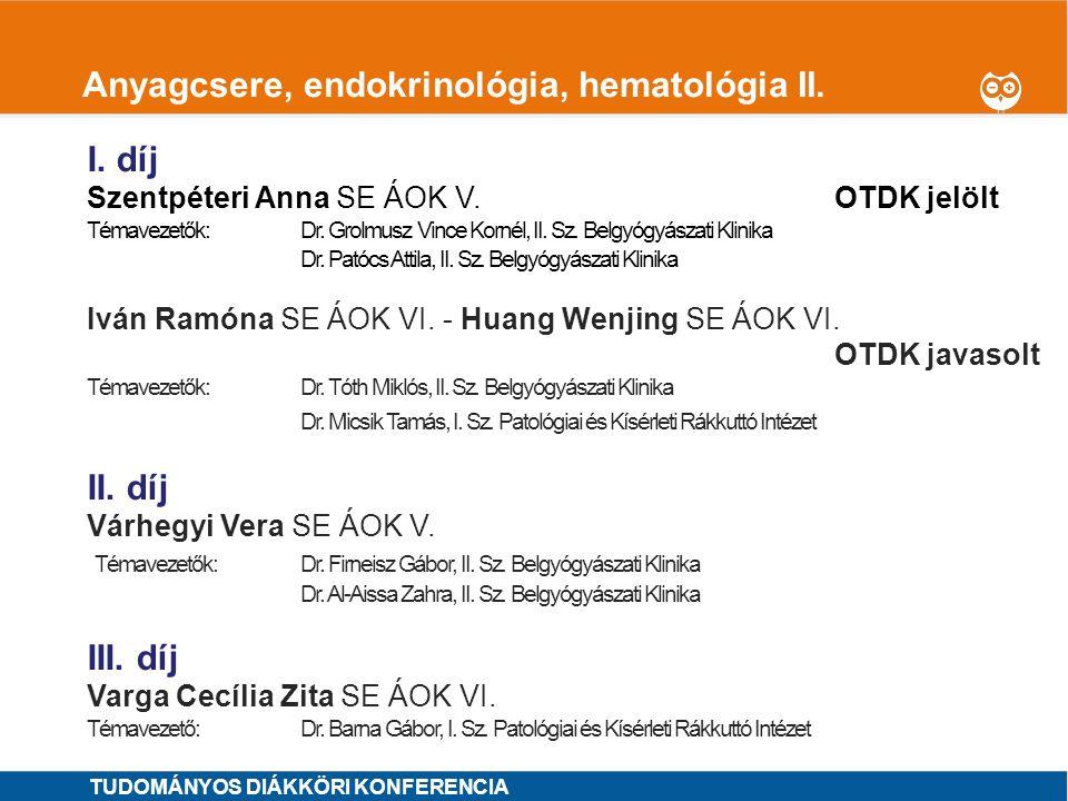 Anyagcsere, endokrinológia, hematológia II.