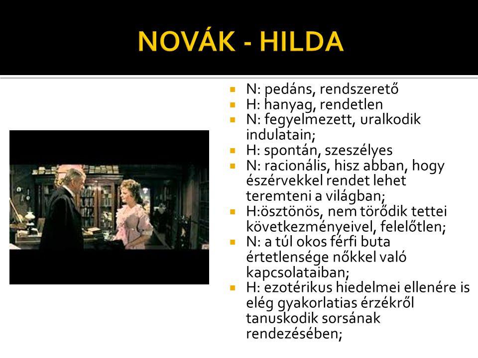 NOVÁK - HILDA N: pedáns, rendszerető H: hanyag, rendetlen