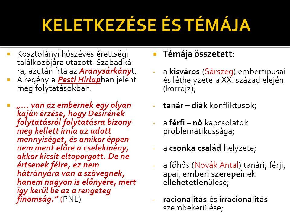 KELETKEZÉSE ÉS TÉMÁJA Témája összetett: