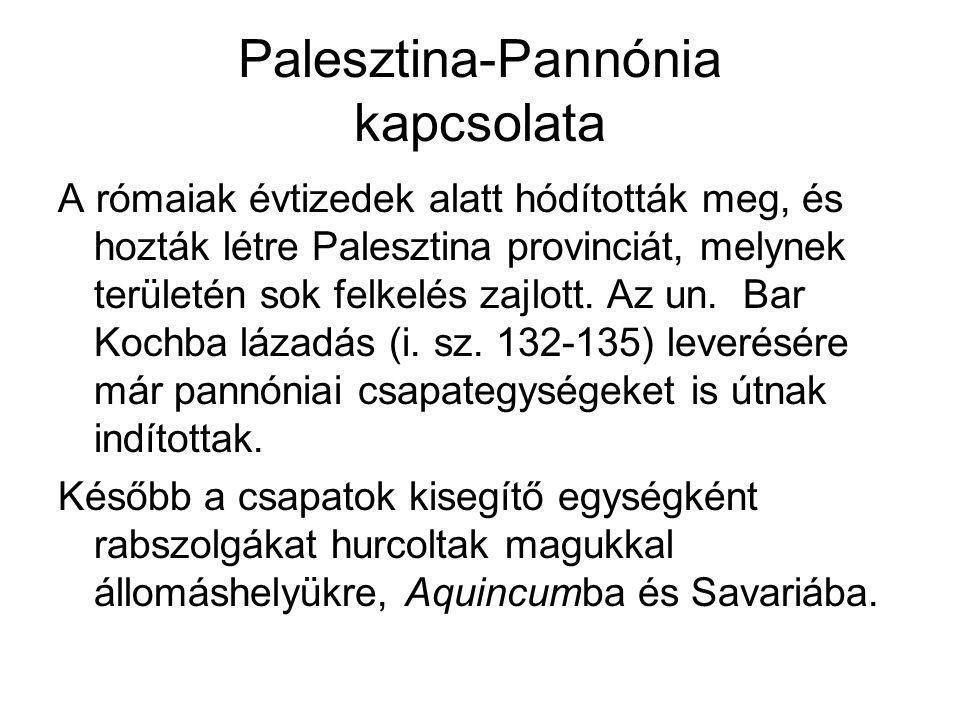 Palesztina-Pannónia kapcsolata
