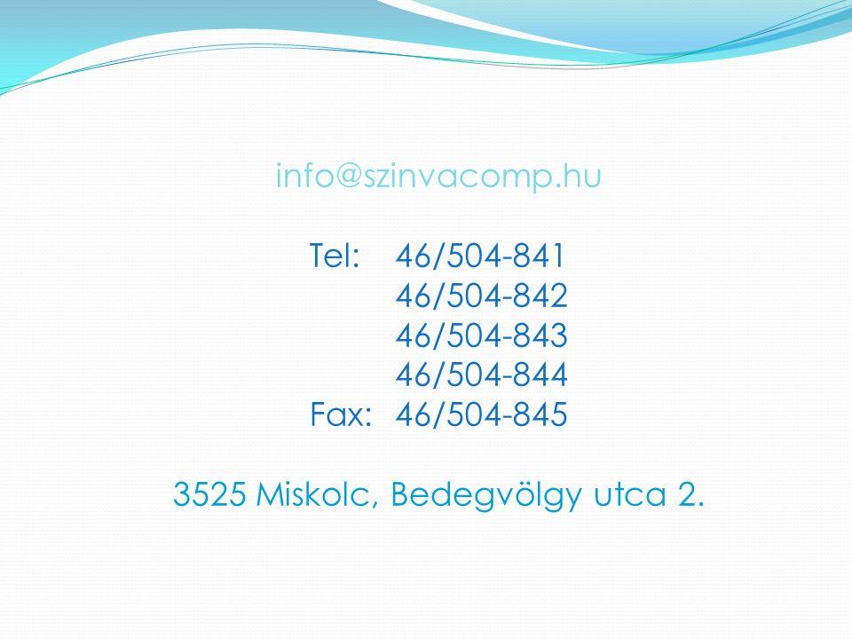 Fax: 46/504-845 3525 Miskolc, Bedegvölgy utca 2.