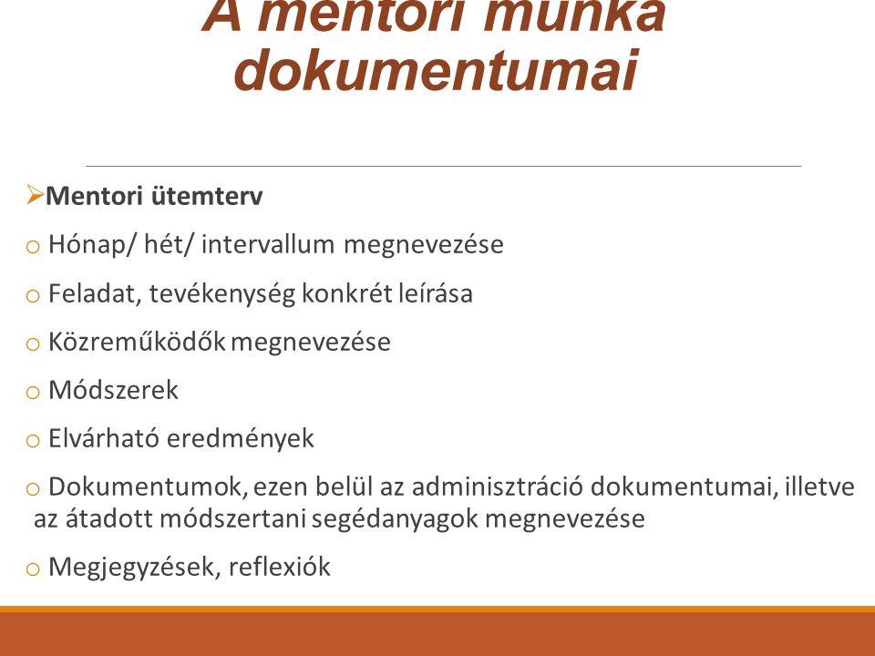 A mentori munka dokumentumai