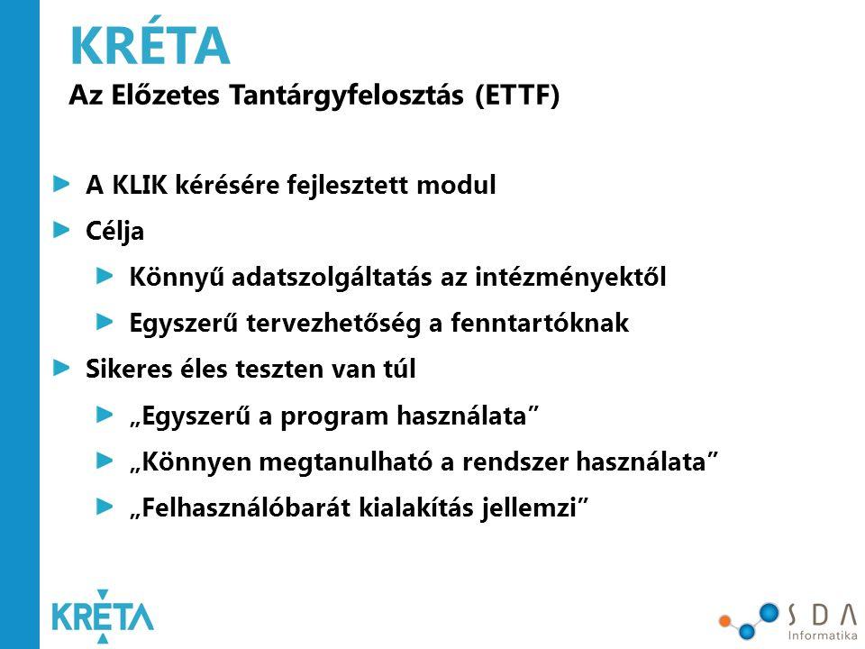 KRÉTA Az Előzetes Tantárgyfelosztás (ETTF)