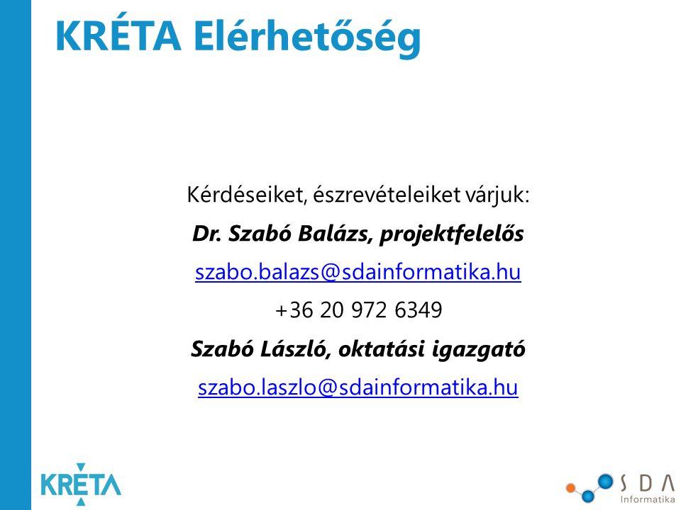 Dr. Szabó Balázs, projektfelelős Szabó László, oktatási igazgató