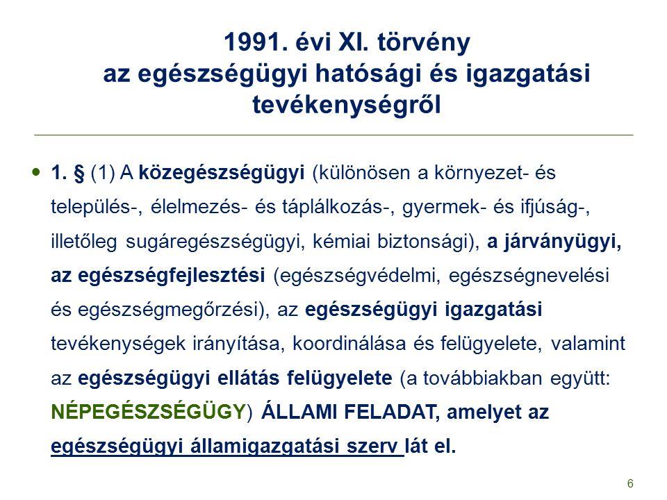 1991. évi XI. törvény az egészségügyi hatósági és igazgatási tevékenységről