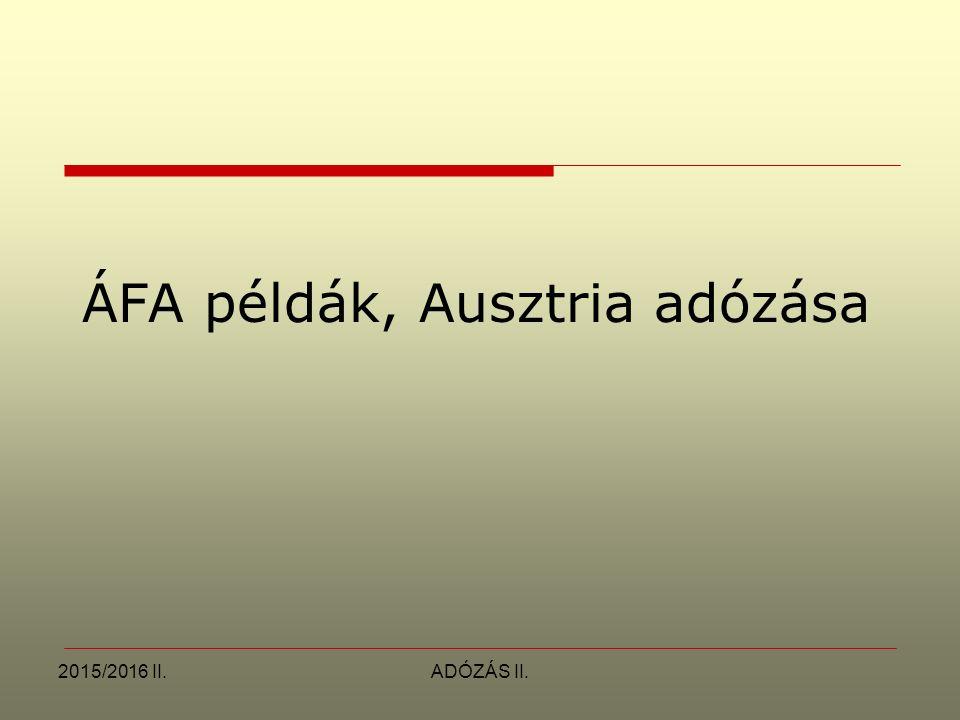 ÁFA példák, Ausztria adózása