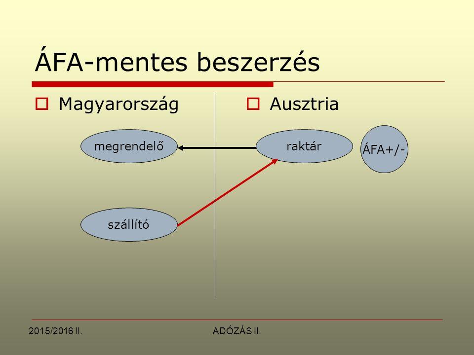 ÁFA-mentes beszerzés Magyarország Ausztria ÁFA+/- megrendelő raktár