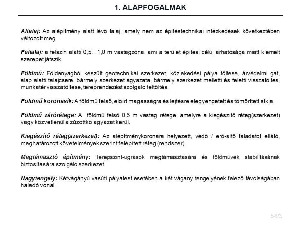 1. ALAPFOGALMAK Altalaj: Az alépítmény alatt lévő talaj, amely nem az építéstechnikai intézkedések következtében változott meg.