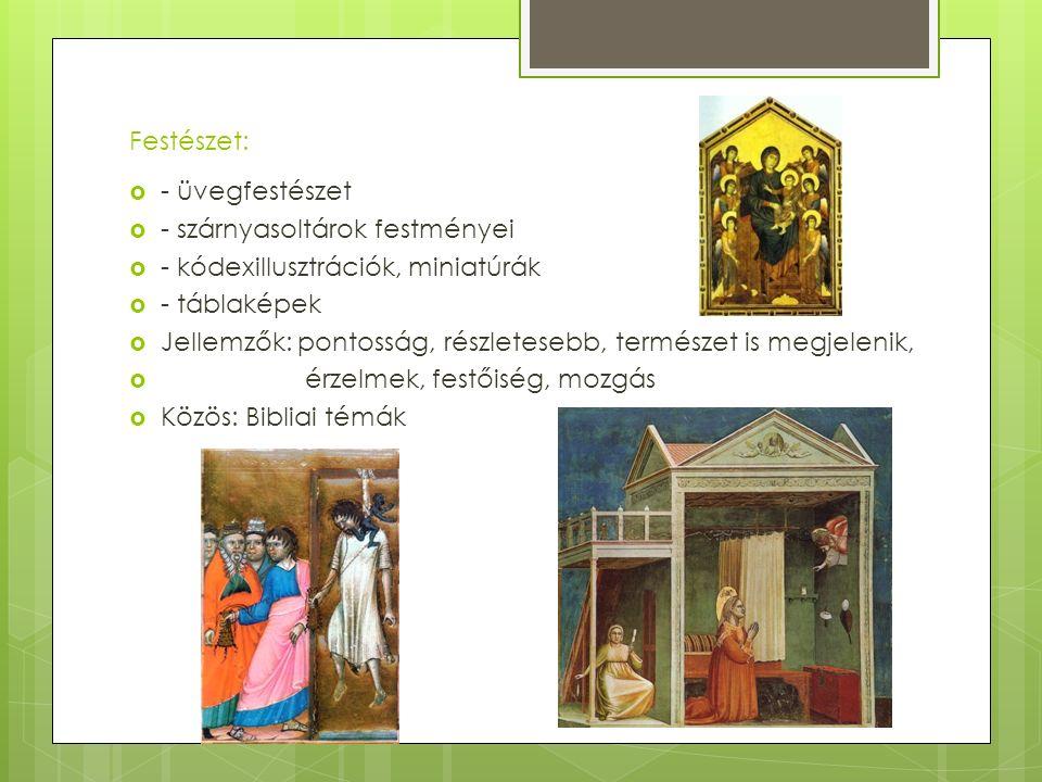Festészet: - üvegfestészet. - szárnyasoltárok festményei. - kódexillusztrációk, miniatúrák. - táblaképek.