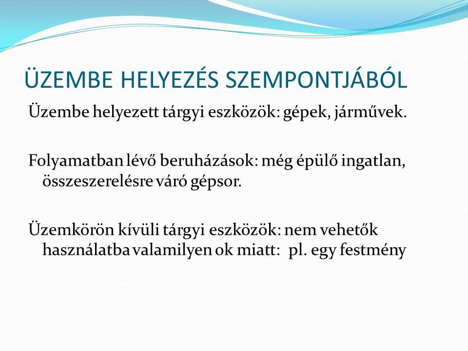 ÜZEMBE HELYEZÉS SZEMPONTJÁBÓL