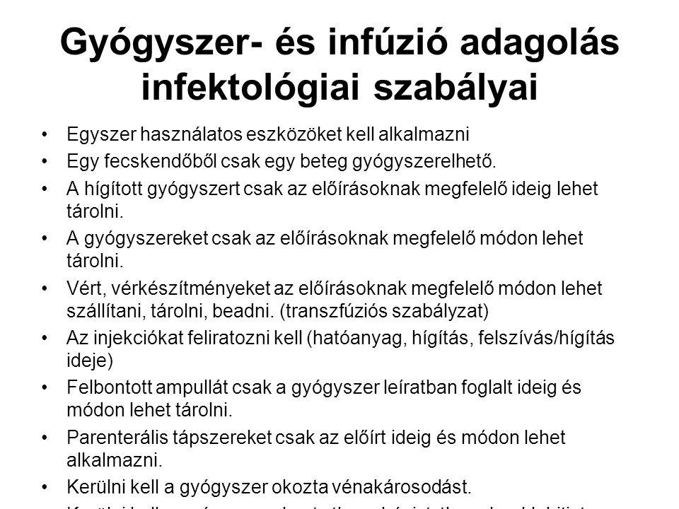 Gyógyszer- és infúzió adagolás infektológiai szabályai