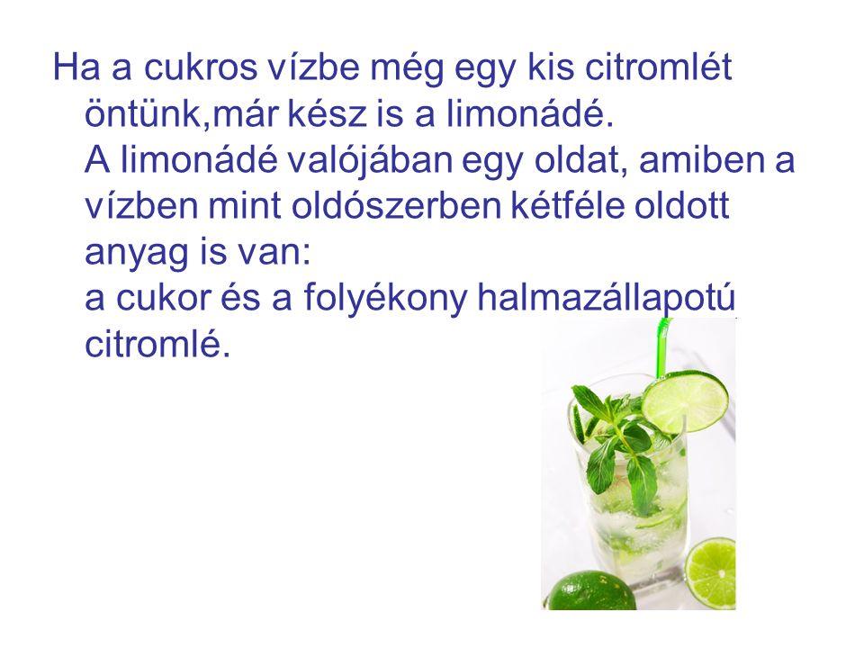 Ha a cukros vízbe még egy kis citromlét öntünk,már kész is a limonádé
