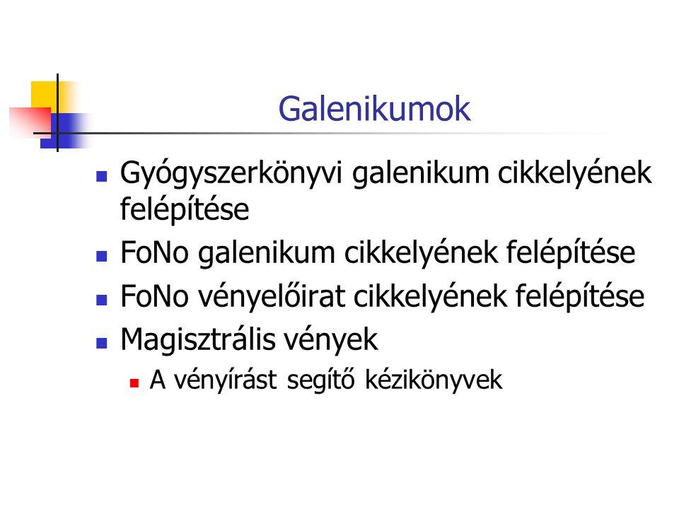 Galenikumok Gyógyszerkönyvi galenikum cikkelyének felépítése