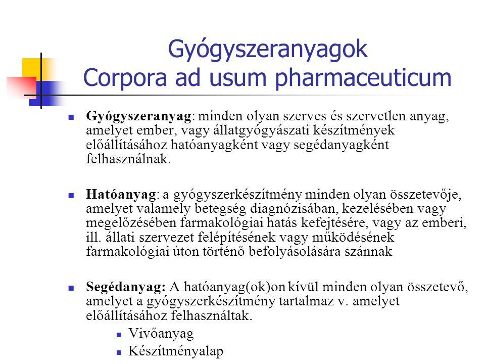 Gyógyszeranyagok Corpora ad usum pharmaceuticum