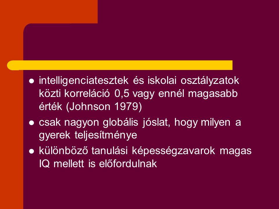 intelligenciatesztek és iskolai osztályzatok közti korreláció 0,5 vagy ennél magasabb érték (Johnson 1979)