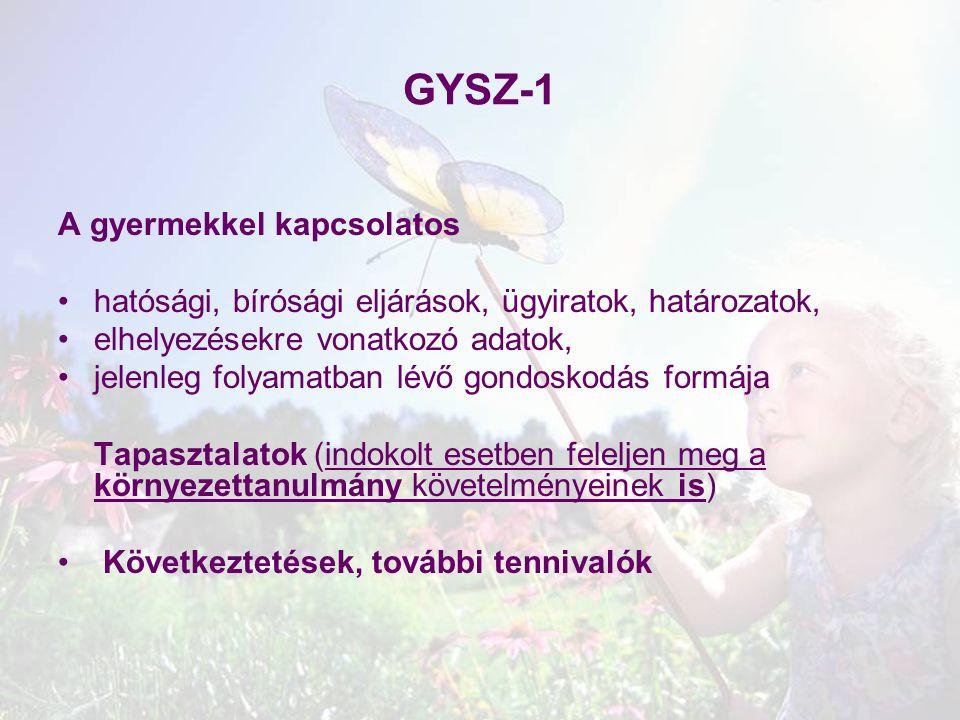 GYSZ-1 A gyermekkel kapcsolatos
