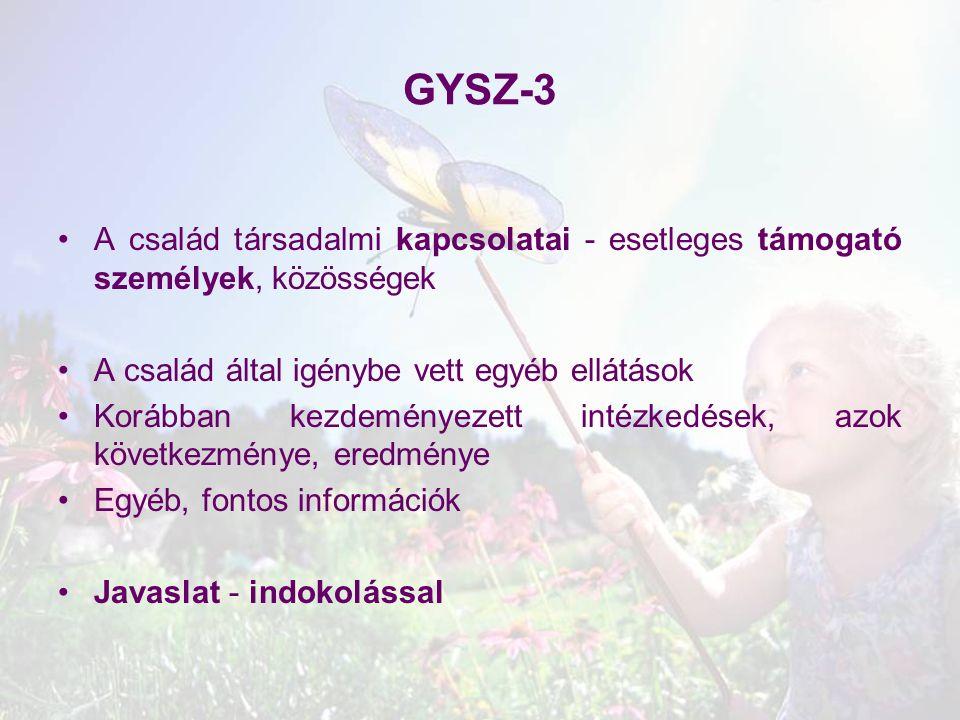 GYSZ-3 A család társadalmi kapcsolatai - esetleges támogató személyek, közösségek. A család által igénybe vett egyéb ellátások.