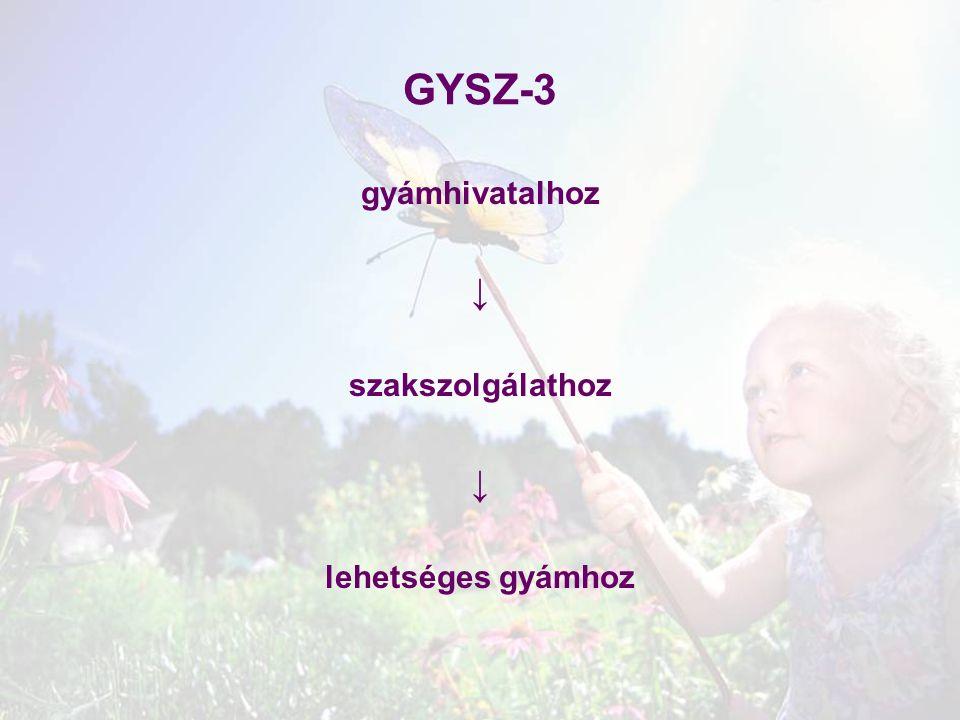 GYSZ-3 gyámhivatalhoz ↓ szakszolgálathoz lehetséges gyámhoz