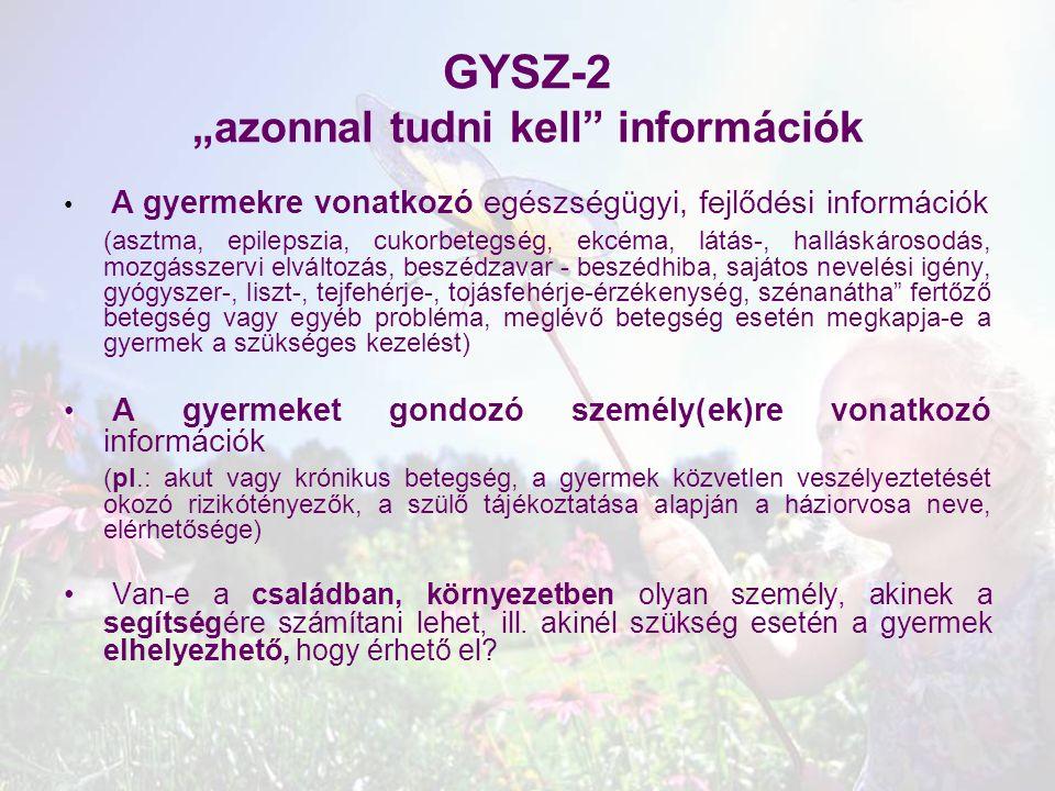 """GYSZ-2 """"azonnal tudni kell információk"""