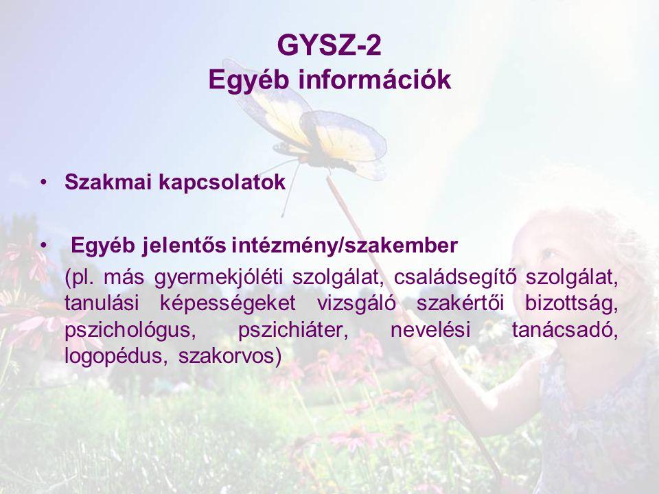 GYSZ-2 Egyéb információk