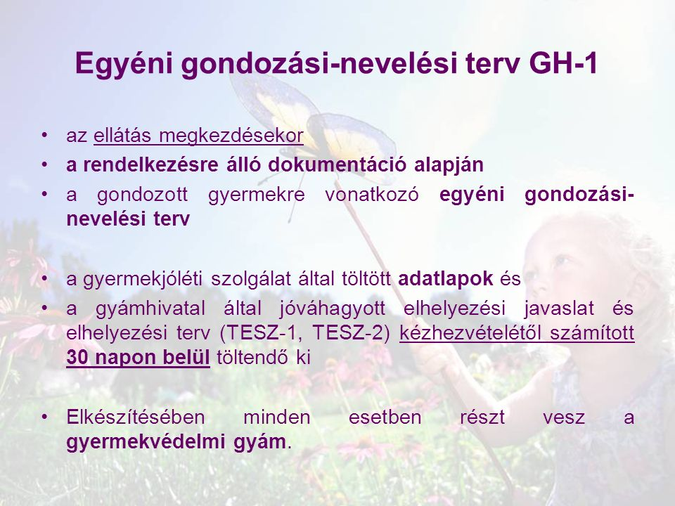 Egyéni gondozási-nevelési terv GH-1