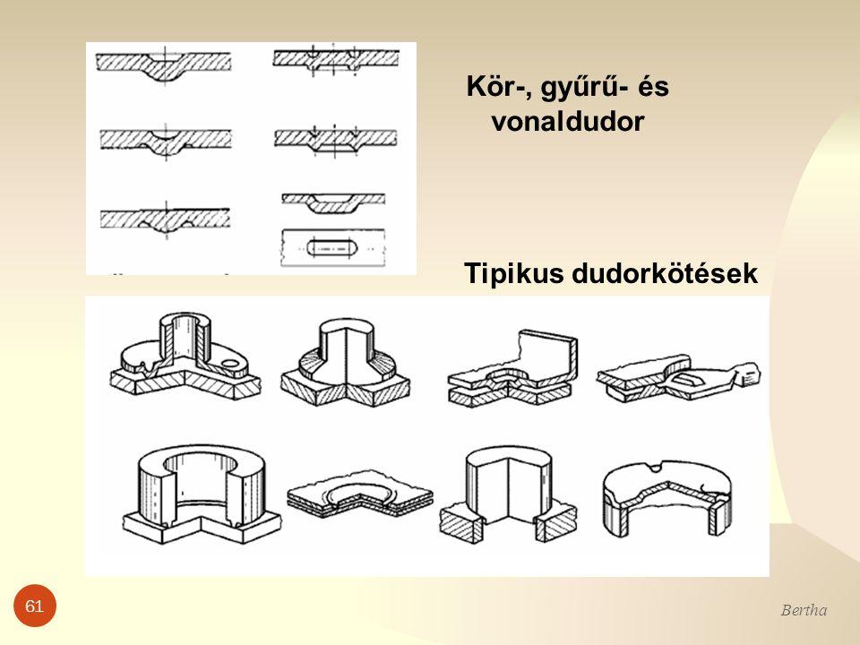 Kör-, gyűrű- és vonaldudor Tipikus dudorkötések