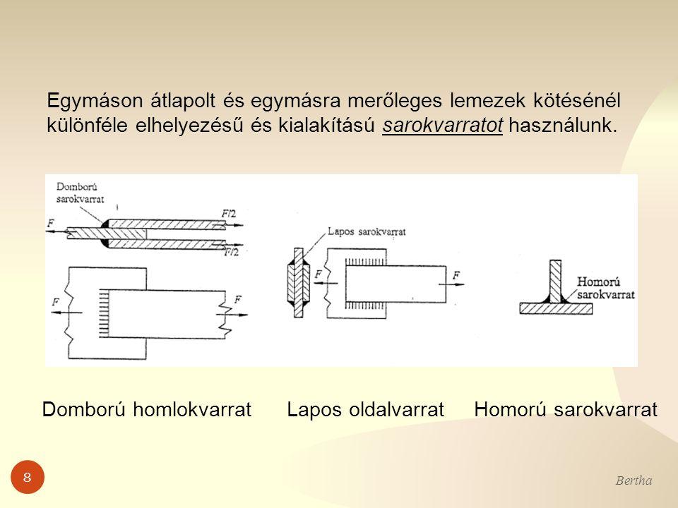 Egymáson átlapolt és egymásra merőleges lemezek kötésénél különféle elhelyezésű és kialakítású sarokvarratot használunk.
